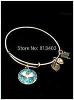 aquamarine march birthstone - March Aquamarine Crystal Pendant Birthstone Alex and Ani Bangle Charm Bangle Wiring Bracelet expandable bangles