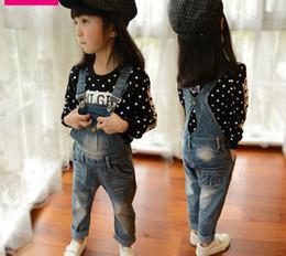 Wholesale 2014 Spring Autumn Children Girls Clothing Denim Long Causal Suspenders Pants Kids Girls Suspender Trousers Childs Cowboy Trousers M0879