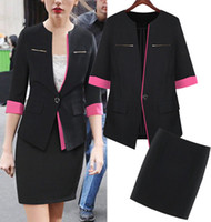 Cheap 2014 Fashion Black Rose women work wear suits Blazer Mini Skirt ladies office uniform style business suits plus size clothes
