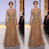 Cheap 2014 Elie Saab Long Sleeve Evening Dresses Bateau Illusion Shher Neck Emiper Waist with Gold Bead Champagne Pagent Dresses