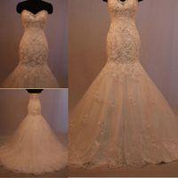 Wholesale Popular Design Sweetheart Custom Wedding Bridal Gowns Sweetheart Sleeveless Appliques Bead Lace Page Long Train Mermaid Wedding Dress