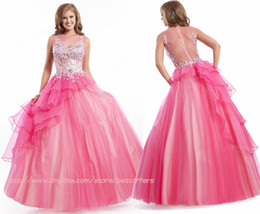 Wholesale 2014 Prom Dresses Sexy Sheer Crew Neckline Floor Length Exquisite Beads Crystals Decorated Hot Pink Evening quinceanera Dresses PT6447
