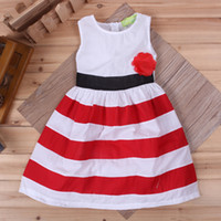 Wholesale 2016 kids striped summer dress Sleeveless baby girls dress Fashion baby dress