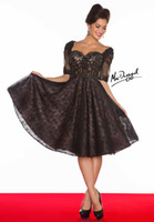 Wholesale Black Sexy Sweetheart Cocktail Dresses A Line Hollow Sleeve Mini Open Back Beads Lace Party Dresses
