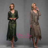 Wholesale 2014 New Scala A Line V Neck Long Sleeves Tea Length Mother of The Bride Dresses with Appliques and Beaded Beach party Gowns