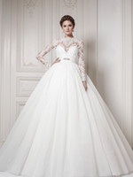 Cheap Wholesale Classic Ball Gown Wedding Dresses Ersa Atelier Tulle Lace Bodice High Collar Long Sleeves Beads Sequin Corset Back Bridal Gowns
