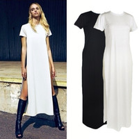 plus size maxi dress - Celebrity Sexy Women Shirt Dress High Side Splits Maxi Long t shirt Dress Casual Tee Dress Party Clubwear White Plus Size G0614