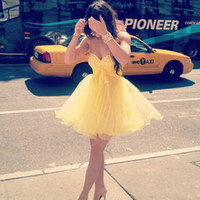 Wholesale 2014 Sexy New York Fashion Cute Lovely Sweetheart Crystal Bodice Kylie Jenner Yellow Dress A line Girls Mini Homecoming Dress