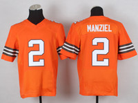 Wholesale Johnny Manziel Elite Mens Football Jerseys New Arrival American Football Shirts High Quality Sports Uniforms Orange Jerseys for Cheap