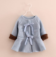 Wholesale Thicken Autumn Winter Children Kids Clothing Girl s Cotton Wool Lined Coat Coats Jackets Overcoat Outwear Blue Orange Girl Clothes K0762