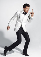 Cheap 2014 Custom Suit double button white Groom Tuxedos with Groomsmen Men wedding tuxedos wear slim wedding suits for men