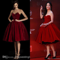 Wholesale 2014 New Sexy Strapless Red Velvet Celebrity Dresses Knee Length Ball Gown Vintage Glitz Short Prom Cocktail Party Gowns BO5684