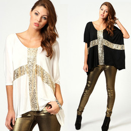 Wholesale Summer Lady Casual M XXL Tee Sequin Cross Loose Batwing Sleeve Tops Women T shirt G0467