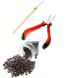 Wholesale Curved Pliers Hook Needle Tools Kit Brown Silicone Micro Rings Beads Hair ExtentionTools H8829 H8729BR