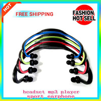 Wholesale Portable Wireless Earphones Sport MP3 Player In Ear Headphone Headset Handsfree Sport MP3 Player Surpport SD TF Card With High Quality