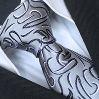 Cheap BRAND NEW COACHELLA Plain Men ties 100% Pure Silk Tie Silver With Balck White Paisley Woven Necktie Formal Neck Tie for dress shirts Wedding