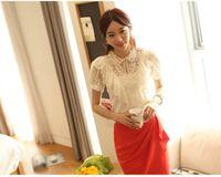 Cheap Wholesale Fashion Hot Sale S M L XL XXL Elegant Summer Shirt Women White Ruffle And Beading Short Sleeve Lace Blouses