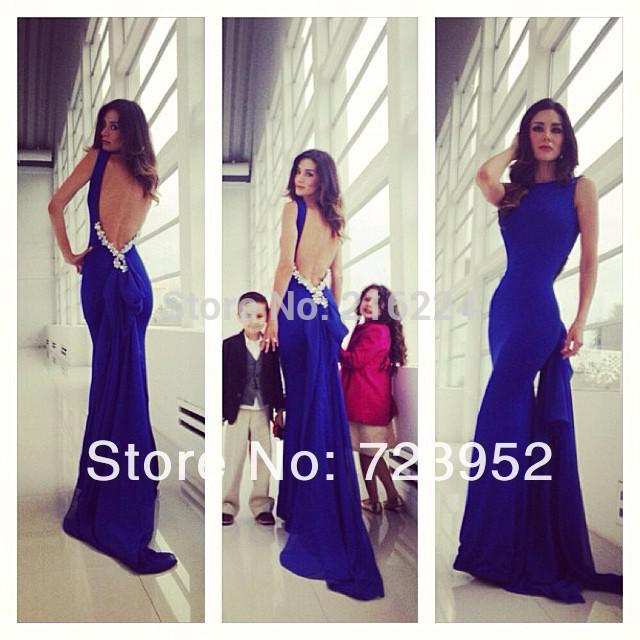 2015 Sexy Backless Mermaid Prom Dresses Open Back Royal Blue ...