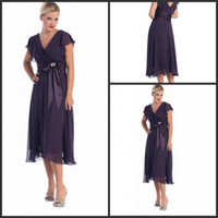 Wholesale 2015 Dark Purple Ruffled Sleeves Tea Length Mother Of The Bride Dresses Plus Size With Sashes