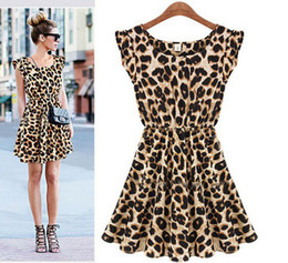 Wholesale New womens summer leopard dresses Fashion women Dress lady mini leopard Printed ladies Loving Chiffon Plus size Clothes