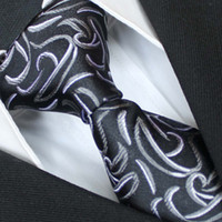 Cheap BRAND NEW COACHELLA Plain Men ties 100% Pure Silk Tie Black With Gray Silver Paisley Woven Necktie Formal Neck Tie for dress shirts Wedding