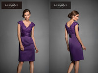purple mother of bride dress - Purple Sheath V Neck Mother of the Bride Dresses Lace Appliques Ruched Stretch satin Knee Length New Formal Evening Dress Gowns M160051