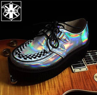 Cheap 5cm Heel Four Seasons Men And Women Shoes AOD Goth Punk Harajuku Silver Hologram Creepers Platform British Creepers EUR 34~43