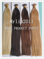 Wholesale 20 g s Double Drawn Very Thick Bottom A Grade Indian Remy Stick I tip Human Hair Extensions Black Blonde Brown More Colors Straight
