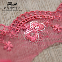 hand embroidered garments - DIY hand embroidered sequins lace fabric garment accessories red bow lace