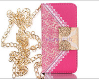 Cheap HOT sell Luxury wallet Leather case bag for iphone 5S 5 4 4S with flower Credit card slot Metal belt band Pu cases hard plastic back cover