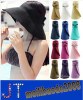 Wholesale 2014 Fashion New Women Lady Foldable Roll Up Sun Beach Wide Brim Straw Visor Hat Cap fx240 HSA0459