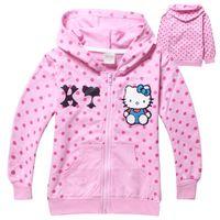 Cheap Wholesale- Cut hello kitty Outerwear & coats Brand Cartoon Jackets Winter Autumn Baby Kids Hoodies Girls Clothing#B1647