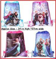 Cheap Fedex DHL EMS Ship 2015 New Baby Frozen Bags Anna Elsa peppa pig sofia Drawstring Backpack School Bags kids frozen shopping bags 120Pc lot