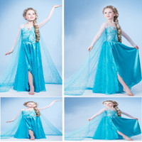 Girl Spring / Autumn Lace 2014Fashion Baby skirt Girl Long Sleeve Lace Cosplay Costume Frozen Princess Elsa Anna Fancy Dress Kids lace dress grils dress free shipping