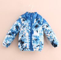 Cheap EMS DHL Floral Thicken Autumn Winter Big Children Clothing Girl's Hooded Cotton Padded Jackets Coats Overcoat 8pcs lot Blue Red K0765