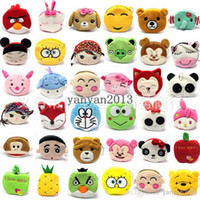 Cheap Wholesale - 2014 women girl cartoon animal money wallet burse coin purse mix style cartoon plush purses, figures, fruit key cases, 30 diffe