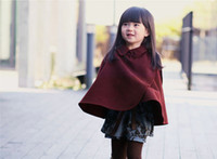 Wholesale EMS Best sell Autumn Winter Children Clothing Girl s Poncho Outwear Childs Girls Thicken Cape Poncho Kids Girls Shawl Pink Burgundy K0777
