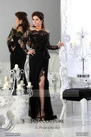 Cheap Jajja Couture Black Lace Arabic Dresses Sheath Sexy Off Shoulder Lace Long Sleeve Thigh Slit Peplum Evening Party Dresses Formal Dresses