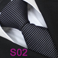 Cheap BRAND NEW COACHELLA Men ties 100% Pure Silk Tie Black With White spots Polka Dot Woven Necktie Formal Neck Tie for dress shirts Wedding