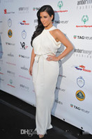 Cheap Wholesale - 2014 Celebrity Dresses Kim Kardashian Halter High Neck Sleeveless White Chiffon Floor-length Sexy Evening Gowns Red Carpet Dress