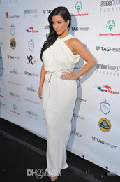 Wholesale Celebrity Dresses Kim Kardashian Halter High Neck Sleeveless White Chiffon Floor length Sexy Evening Gowns Red Carpet Dress