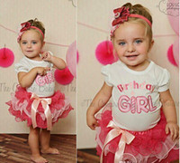 Discount ruffles cakes - 10sets lot 2014 New Summer Birthday Girl Children 2PC Clothing Set Baby Girl White T Shirt + Girls Pink TUTU Ruffle Bow Cake Skirt
