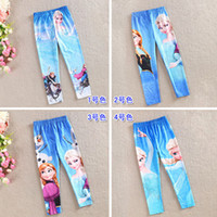 Cheap Children Girl's Frozen Elsa Anna Print Legging Pant,Kids Spring Auttumn Wild Matched Tights Leggings,6 Pcs Lot