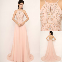 Wholesale SSJ New Modest Prom Dresses With Spaghetti Beads Backless Real Image Elegant Hot Blush In Stock Evening Pageant Party Gowns SD132