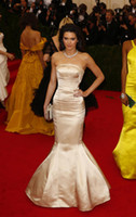 Wholesale 2014 Met Gala Red Carpet Strapless Champagne Strapless Satin Long Mermaid Kendall Jenner Evening Dresses Couture DHzy