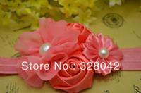 Wholesale Trail order pearl centre girl pink satin rose chiffon flower FOE Shimmery Headbands satin ribbon flower headbands