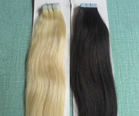 remy tape hair extensions wholesale - 18 g Full Head PU Tape Tip Skin Wefts Indian Remy Hair Extensions Brown Platinum Blonde J Ombre Mix Color Straight Body Deep Wavy