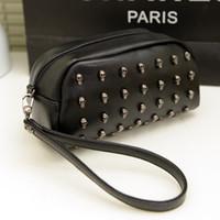 Cheap Wholesale-OP-Fashion punk skull rivet bag black cosmetic mini messenger bag coin purse clutch women's designer handbag Free Shipping