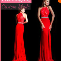 Cheap 2014 New Fashion Sexy Vestidos Bodycon Halter Lace And See Through Evening Dresses Peplum Free Shipping Slit Chiffon
