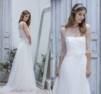 Cheap LK Romantic Boho Chic Wedding Dresses with Half Sleeves Bateau Neckline Lace Bolero See Through Tulle Floor Length Garden Bridal Gowns 2015